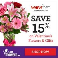 Save 15% on Valentine's Day Flowers and Gifts from 1800flowers.com