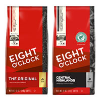 Save $1.50 on any bag of Eight O'Clock Coffee, 11 oz or larger