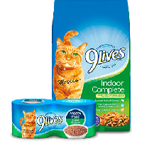 Print a coupon for $1 off a 9Lives 3lb bag of dry cat food and a 4pk or 4 cans of 9Lives wet cat food