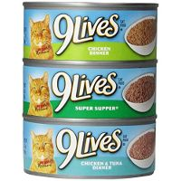 Print a coupon for $0.25 off any three cans of 9Lives Wet Cat Food