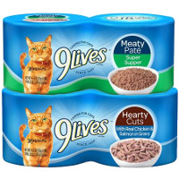Print a coupon for $1 off two 4pks, 8 cans or a variety pack of 9Lives wet cat food
