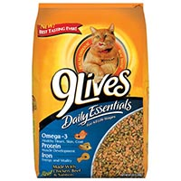 Print a coupon for $0.75 off a 3.15lb bag or larger of 9Lives dry cat food