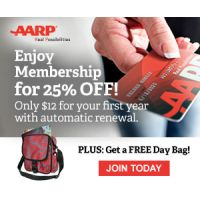 Sign up for AARP for just $12 for the first year and get a free day bag or trunk organizer
