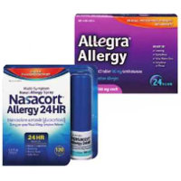 Print a coupon for $8 off any two Allegra Allergy products, 24ct or higher or Nasacort 120 Spray