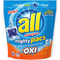 Save $2 on one package of All Mighty Pacs Super Concentrated Laundry Detergent, 50 count or larger