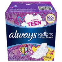 Print a coupon for $0.75 off a pack of Always Radiant Pantiliners