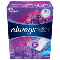 Print a coupon for $0.75 off Always Radiant Pantiliners