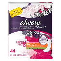 Save $2 on one package of Always Discreet Incontinence Liners