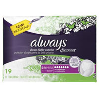 Save $2 on one package of Always Discreet Incontinence Underwear