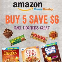 Save $6 when you buy five breakfast favorites on Amazon Prime Pantry. Make your mornings great!