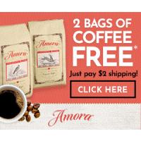 Receive 2 Free Bags of Coffee from Amora, just pay $2 for shipping and handling