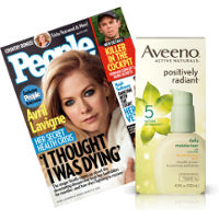 Save $3 when you buy Aveeno Positively Radiant Daily Moisturizer and People Magazine