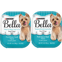 Print a coupon for $1.50 off four 3.5 oz trays of Purina Bella Wet Dog Food