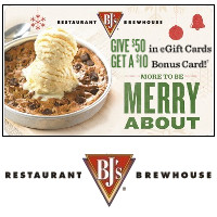 Give $50 in eGift Cards to BJs Restaurant + Brewhouse this Holiday season, get a $10 bonus card for yourself!