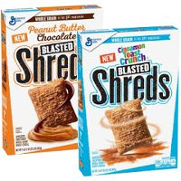 Print a coupon for $1 off a box of Peanut Butter Chocolate Blasted Shreds Cereal
