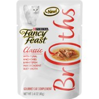 Save $1 on any 4 cans of Fancy Feast Broths Wet Cat Food
