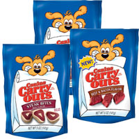Print a coupon for $0.75 off any three Canine Carry Outs Dog Snacks