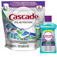 Save $1 when you buy one Cascade Dish Detergent and one Rinse Aid Product