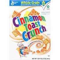 Print a coupon for $1 off 2 boxes of Cinnamon Toast Crunch, Cheerios, Chex or other Big G Cereals