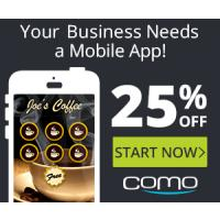 Get 25% off a customized mobile app without the high development costs with Como! Try it today, risk free!