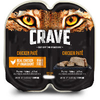 Print a coupon for $1.50 off three tubs of CRAVE Wet Cat Food