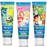 Print a coupon for $1.50 off any two Crest Pro-Health Stages or Crest Kids Toothpaste