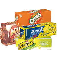 Print a coupon for $1 off any two Crush, Brisk, Mug, Schweppes or Mist Twst Soda 12-packs