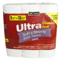 Save $1 on a 9 roll of Dollar General Home Ultra Soft and Strong Bath Tissue