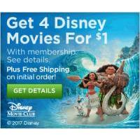 Get 4 Disney Movies for just $1 each when you become a Disney Movie Club Member!