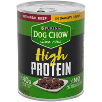 Print a coupon for $1 off three 13 oz cans of Purina Dog Chow High Protein Wet Dog Food