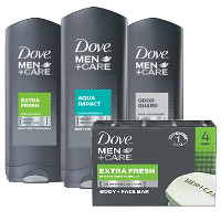 Print a coupon for $1.25 off any Dove Men+Care Body Wash or Bar Soap, 4ct. or larger