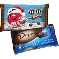 Save $1 on any two holiday bags of Dove, M+M's, Snickers, Twix, Milky Way, or 3 Musketeers Chocolates