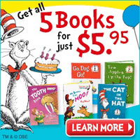 Get 5 Dr. Seuss Storybooks and one Activity Book for just $5.95 with Free Shipping.