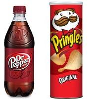 Save $1 on one 2-liter bottle or 12-pack of Dr. Pepper when you buy either Cheez-it Baked Crackers or Pringles