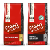 Save $1.50 on any two bags of Eight O'Clock Coffee, 11 oz or larger