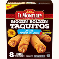 Print a coupon for $1 off a pack of El Monterey Bigger Bolder Taquitos