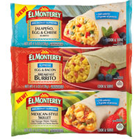 Save $1 on any three El Monterey Breakfast or Signature Single-Serve Burritos or Chimichangas