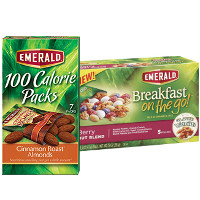 Print a coupon for $1 off two Emerald 100 Calorie Packs or Breakfast on the go! products