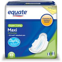 Save $0.75 on any Equate Pad or Pantiliner product