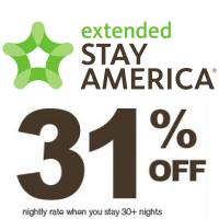 Get up to 40% off your next hotel stay at Extended Stay America