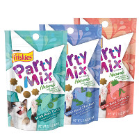 Save $1 on any three packages of Friskies Party Mix Cat Treats