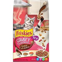 Print a coupon for $1.30 off Purina Friskies Gravy Swirlers Brand Dry Cat Food, 3.15 lbs or larger