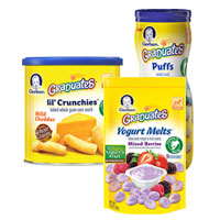 Print a coupon for $1 on any three packages of Gerber Graduates Puffs, Lil' Crunchies, or Yogurt Melts