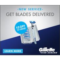 Get $3 off your first order, plus every 4th order is free with subscription from Gillette On Demand