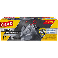 Save $1.25 on a box of Glad Dual Defense  Large Trash Bags (30 gallon)