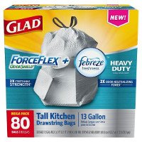 Print a coupon for $1.50 off one box of Glad ForceFlex or ForceFlex with Febreze Trash Bags