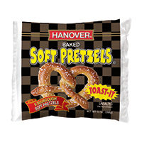 Save $0.75 on one package of Hanover Frozen Soft Pretzels