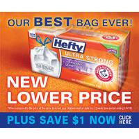 Save $1.50 on one package of Hefty Large Black Trash Bags