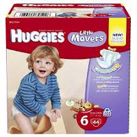 Save $1 on a package of Huggies Little Movers Slip-On Diaper Pants