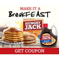 Print a coupon for $1.25 off when you buy Hungry Jack Pancake + Waffle Mix and Microwaveable Syrup